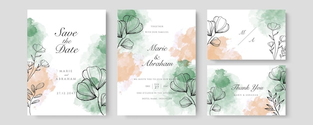 Watercolor wedding set. set of card with leaves and golden geometric frame. design with forest green orange watercolor, leaves, eucalyptus. floral trendy templates for banner, flyer, poster, greeting