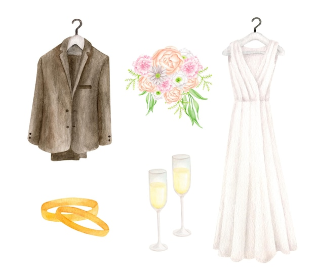 Watercolor wedding set with bridal dress and groom suit champagne glasses gold rings and bouquet