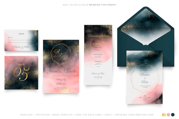 Watercolor wedding set with golden frames