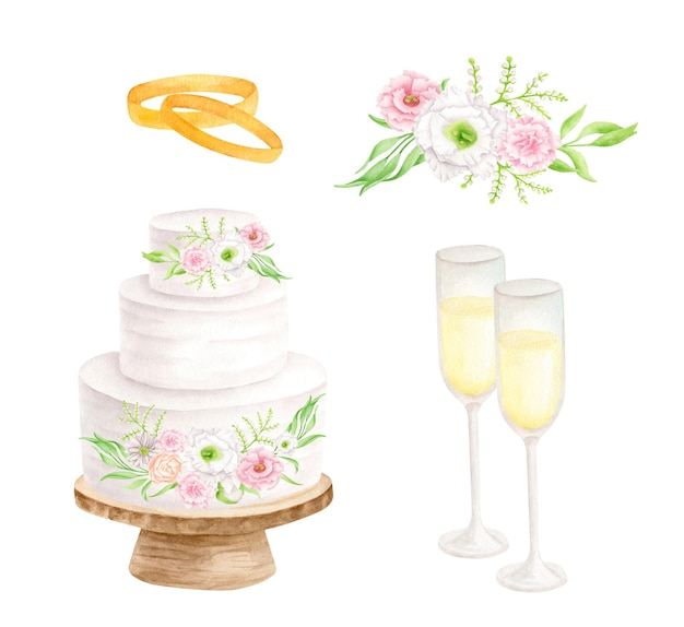 Watercolor wedding set with tiered white cake champagne glasses gold rings and flowers