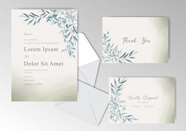 녹지와 수채화 결혼식 고정 서식 파일 컬렉션