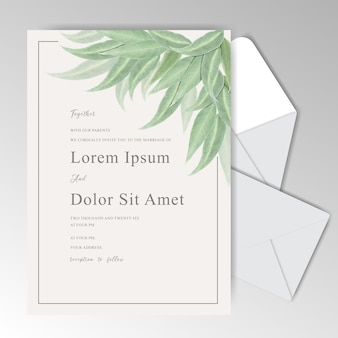 Watercolor wedding stationary template collection with greenery leaves