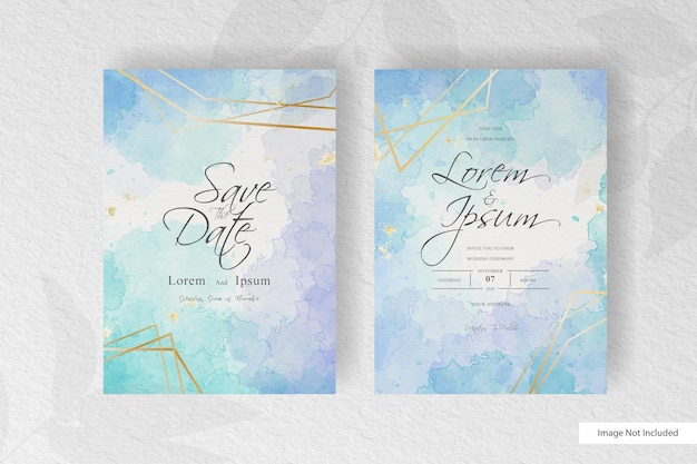 Watercolor wedding stationery set card with elegant colorful  style