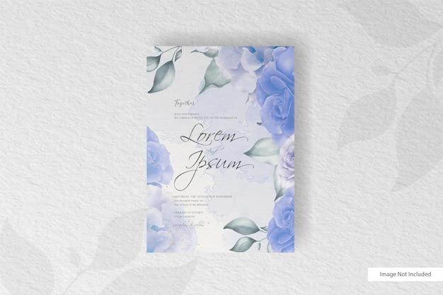 花と葉を手描きで水彩の結婚式の文房具セットカード