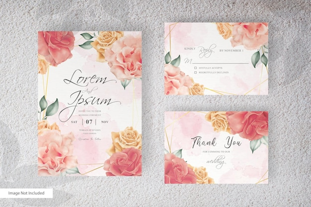 Watercolor wedding stationery set card with hand drawing flower and leaves