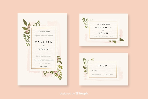 Watercolor wedding stationery template collection