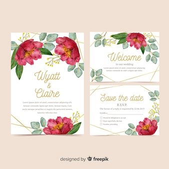 Watercolor wedding stationery template set