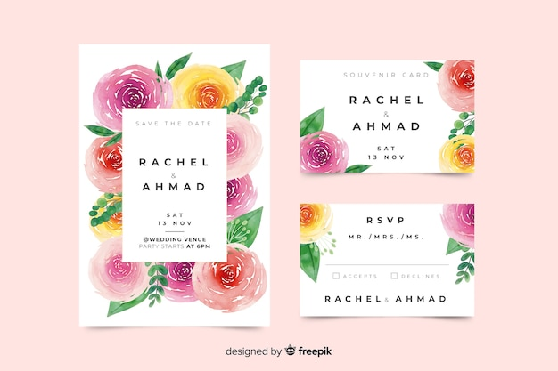 Watercolor wedding stationery template
