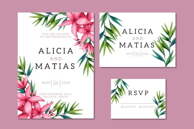 Акварельные свадебные канцтовары с цветами