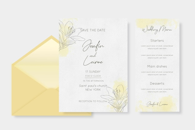 Watercolor wedding stationery with flowers
