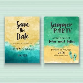 Watercolor wedding and summer party cards