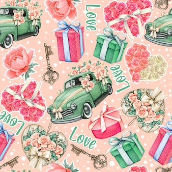 Watercolor wedding valentine pattern pink and teal objects