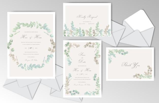 Watercolor wedding wtationary template collection with greenery eucalyptus