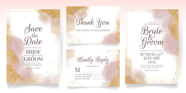 Watercolor weeding card with golden glitters