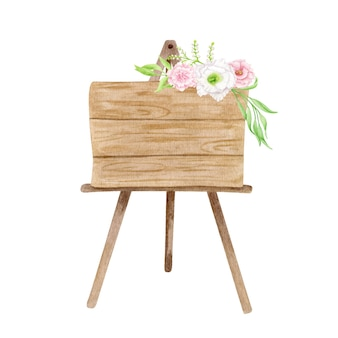 Watercolor welcome signboard illustration. wood easel with flowers