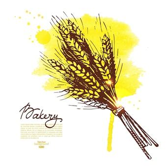 水彩小麦スケッチの背景。ベーカリーヴィンテージ手描きイラスト