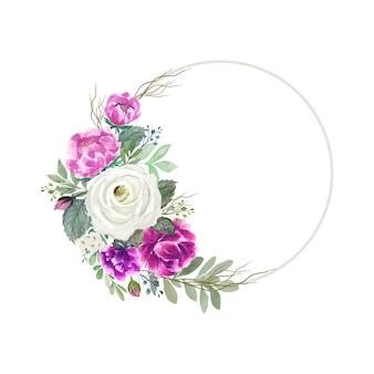 Акварельный бело-розовый букет цветов с круглой рамкой