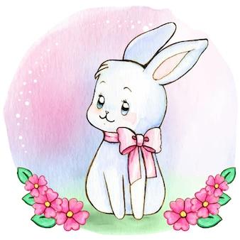 Акварельный белый зайчик с розовым бантом