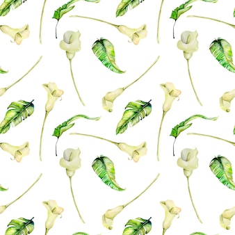 Watercolor white callas and tropical leaves seamless pattern