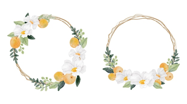 수채화 흰 꽃과 오렌지 과일 화환 프레임 컬렉션