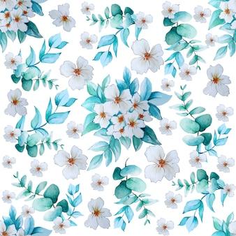水彩の白い花とユーカリとパターン