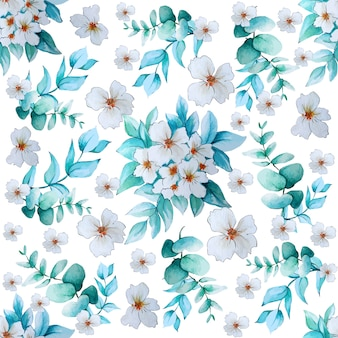 Watercolor white flowers and eucalyptus and pattern