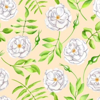 Watercolor white garden roses with leaves seamless pattern