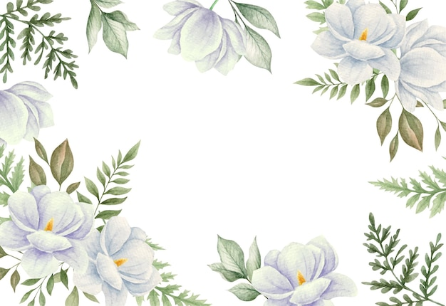 Акварель белые цветы магнолии и листья
