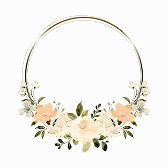 Watercolor white peach floral wreath with gold circle