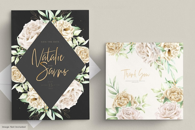 Watercolor white roses card template