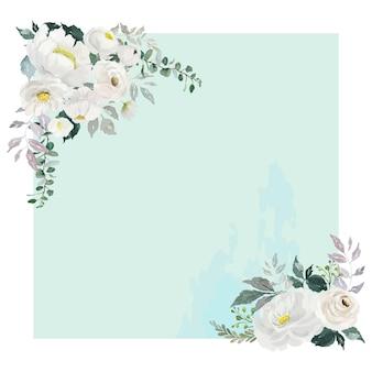 薄緑の正方形のフレームの2つのコーナーに水彩の白いバラの花の花束