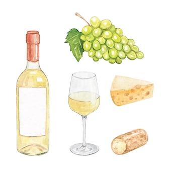 수채화 화이트 와인과 치즈 세트 흰색 배경에 고립. 손으로 그린 녹색 포도 과일과 유리 와인 병 그림