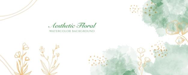 Акварельная широкая обложка баннера или реклама веб-страницы. акварель абстрактные брызги зеленого золота блестящие широкие вертикальные вектор фон шаблон. для красоты, свадьбы, макияжа, украшений. романтичный женский