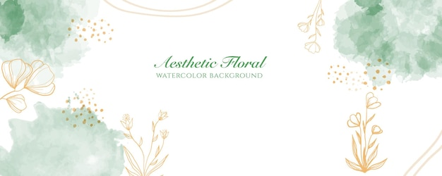 Watercolor wide banner cover or web page advertising. watercolor abstract splatter green gold shiny wide vertical vector background template. for beauty, wedding, make up, jewelry. romantic feminine