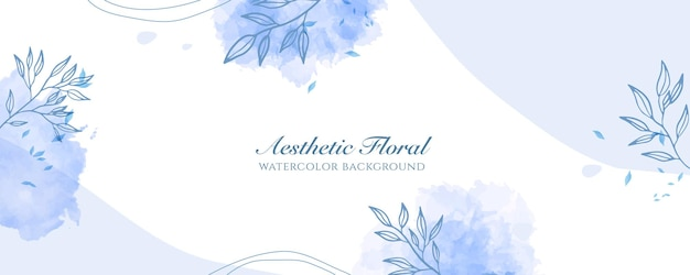 Watercolor wide banner cover or web page advertising. watercolor abstract splatter light blue shiny wide vertical vector background template. for beauty, wedding, make up, jewelry. romantic feminine