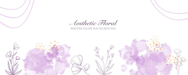 Watercolor wide banner cover or web page advertising. watercolor abstract splatter pink gold shiny wide vertical vector background template. for beauty, wedding, make up, jewelry. romantic feminine