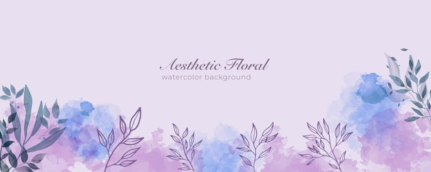 Watercolor wide banner cover or web page advertising. watercolor abstract splatter purple peach shiny wide vertical vector background template. for beauty, wedding, make up, jewelry. romantic feminine