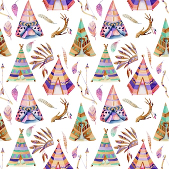 Watercolor wigwams and native american elements seamless pattern