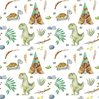 Watercolor wigwams, turtles and dinosaurs seamless pattern