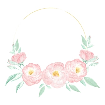 Watercolor wild pink rose wreath frame with round golden frame