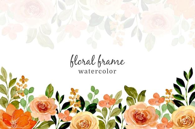 水彩ワイルドローズフレーム。花の背景