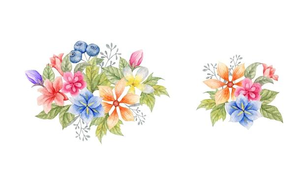 수채화 야생 봄 꽃 꽃다발 컬렉션