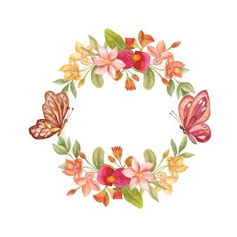 나비와 수채화 야생 봄 꽃 프레임