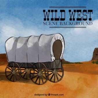 Acquerello wild west di sfondo con carrello