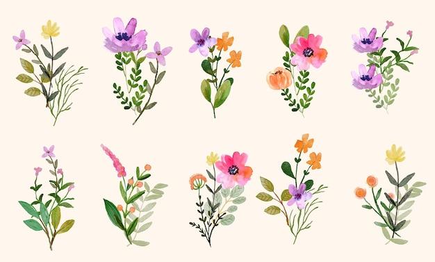 수채화 야생화 봄 배열 꽃다발