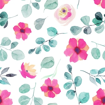 Watercolor wildflowers, pink roses, eucalyptus branches and leaves seamless pattern