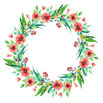 Watercolor wildflowers wreath, botanical floral composition.