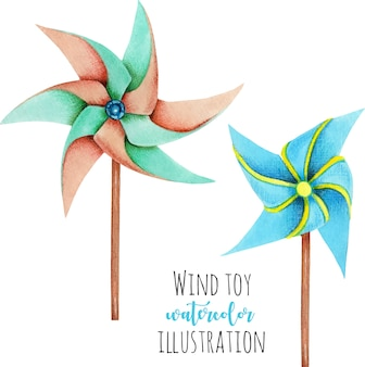 Watercolor windmill toys illustration