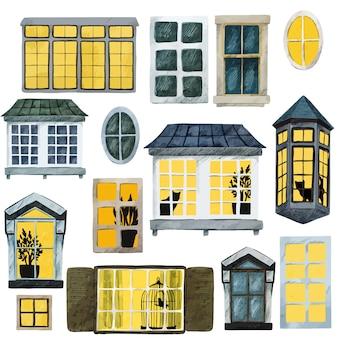 水彩の窓のコレクション、さまざまな形とサイズ、暗い色と明るい色、中にかわいい要素、手描きの水彩イラスト