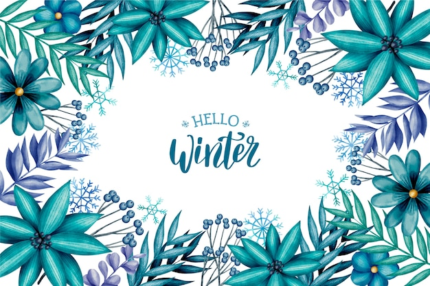 Watercolor winter background with lettering